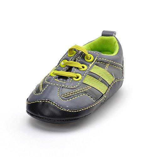 Chaussures bébé élastique semelle en caoutchouc Sneakers - - Bleu marine, 6-12 mois Gris - Gris