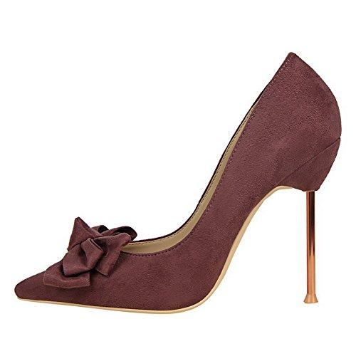 AalarDom Femme Stylet Pointu Tire Couleur Unie Chaussures Légeres Violet