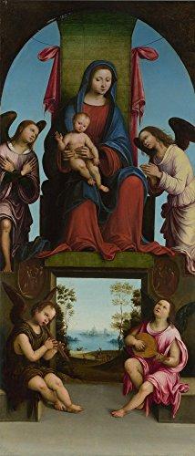 Das Museum Outlet-Lorenzo Costa-Jungfrau und Kind, gespannte Leinwand Galerie verpackt. 29,7x 41,9cm
