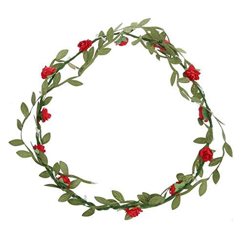 SODIAL(R) Bohemien Dames Floral Fleur Festival Mariage Guirlande Front Cheveux Bandeau - Rouge