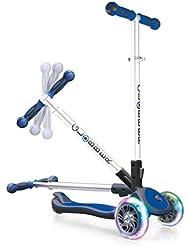 globber My Free Fold Up SL avec roues lumineuses, de 3Wheels Inject Bi Scooter, bleu/gris, One Size