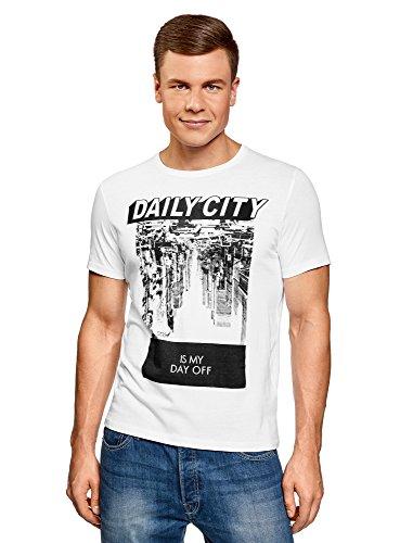 oodji Ultra Herren T-Shirt mit City-Print Weiß (1029P)