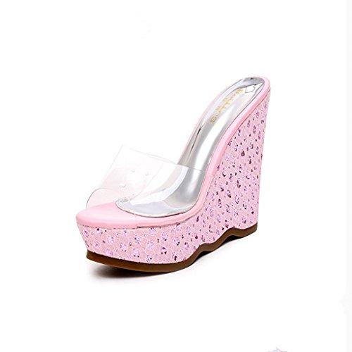 BaiLing Damen Sommer Pantoffeln / Wedge Heel wasserdicht / dick unten / Sexy kleine Größe weibliche Sandalen Schuhe Pink