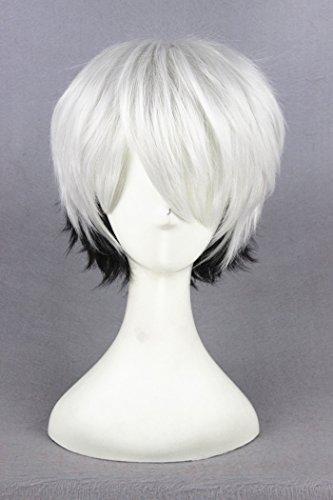 32cm weiß Farbverlauf schwarz Cosplay Perücken für Ginsen und/Wohltätigkeitszwecke Halloween Party (160g Mp3-player)