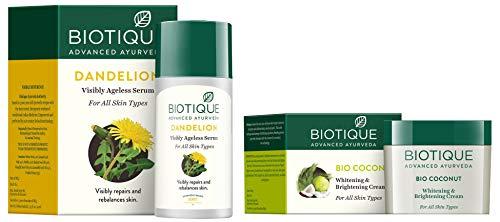 Biotique Bio Dandelion Visibly Ageless Serum, 40 ml and Biotique Bio Coconut Whitening And Brightening Cream, 50g
