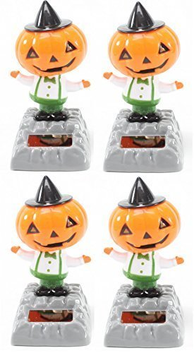 Set of 4~ Dancing Pumpkin with Hat Solar Toys Halloween Nightmare Party Home Decor Gift US Seller by We pay your sales tax