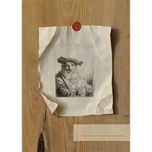 1 DIN A3 Malblock Kunst Motiv Trompe l'Oeil einer Radierung von Ferdinand Bol, c. 1675 • Zeichenblock Skizzen-Block 25 Blatt weiß, kopfverleimt, Papier 100g/m² - für Schule, Basteln, Hobby