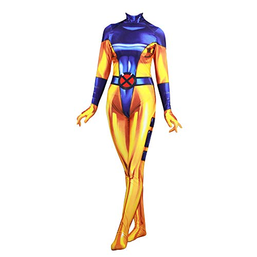 POIUYT Frauen Halloween Cosplay Kostüm Ball Strumpfhosen 3D Digitalen Film Anime Strumpfhosen Erwachsenen Superheld Body Tights,Yellow-L