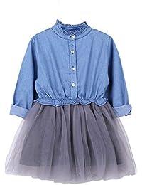 Vestido de mezclilla Baby Girl de manga larga Kid Vestido de princesa Tutu  para niña Ropa c7adfecd6ee5