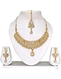 Vipin Store Sliver Color Stone & Kundan Gold Plated Jewelery Set