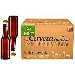 Kit de elaboración de Cerveza Artesana Ecológica con malta Pilsen Ale + Chapadora profesional + Kit de 16 botellas para envasar de 33 cl + 100 chapas