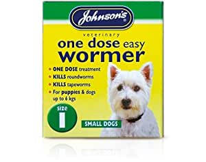 Small upto 6 kg - Johnsons One Dose Easy Wormer Tablet Worming Dogs Dewomer