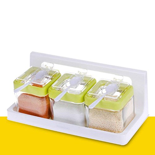 WCP Seasoning Bottle Kitchenware Glass Seasoning Box, Seasoning Pot Set, Salt Pepper Seasoning Bottle with Spoon Cover (4 Pack) (Pepper-set Glass)