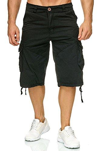 ArizonaShopping - Shorts Herren Cargo Shorts Bermuda Walkshort Kurze Hose H1803,Schwarz-4,XXL (Herren-kleiner Knopf Vorne)