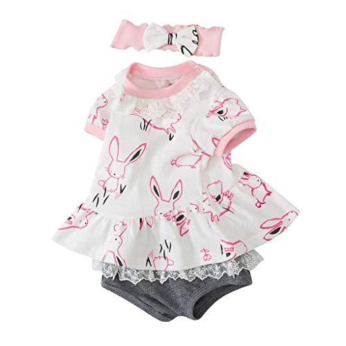 t Sommer Oberteile, Neugeborenes Baby Mädchen Häschen Kleid Tops + Shorts Set Anzug Kleidung Outfit Crew Neck Blusen Tops ()