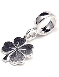 Auténtica de plata de ley 925 colgante de trébol compatible con Pandora grano del encanto de la pulsera