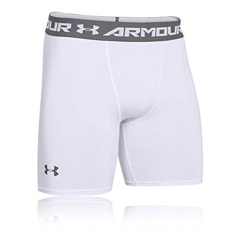 Under Armour Herren HeatGear ARMOUR 2.0 COMP Shorts halblange Kompressionshose, kurze Hose für Männer mit Kompressionspassform, Weiß, Medium