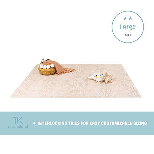 Krabbelmatte von Toddlekind |Spielmatte in Premium Qualität Extra Dicke, Abwischbare Puzzlematte Beige, multifunktional Kinder Spielteppich 0m+