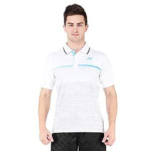 Yonex 1291-31 Polyester Badminton Mens Polo T-Shirt, S (White)