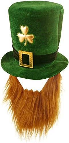 Range Wholesale Packung mit 4 Deluxe Velvet Shamrock Kappen mit Bart (Erwachsener) - St Patrick Tag