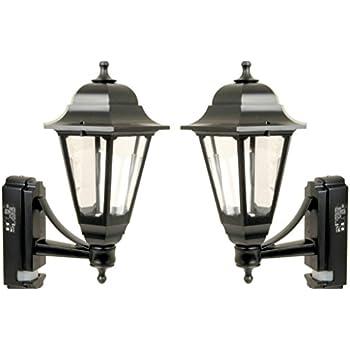 Set Of 2 X Asd Cl Bk100p Coach Lantern With Pir Movement