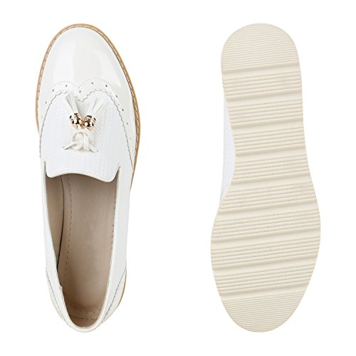 Damen Slipper Lack Plateau Loafers Metallic Schuhe Profilsohle Loafer Flats Glitzer Slippers Quasten Lochung Flandell Weiss Lack