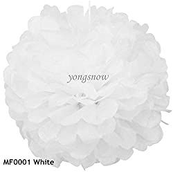 white, 15cm : 1Pc 15cm 20cm 25cm 30cm Multicolor Pom Poms Tissue Paper Flower Ball Wedding Birthday Party Decor Festival Hall Hanging Supplies
