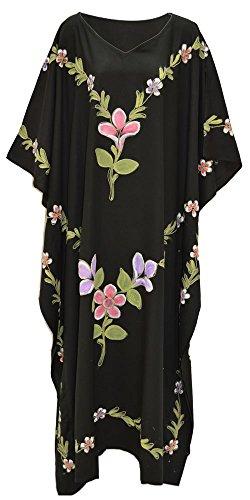 GARDEN Black Hand Painted Embroidered Kaftan GARTEN Schwarz handgemaltes gestickte Kaftan -Kleid-Damen der Frauen lang gemacht (Garten Kaftan)