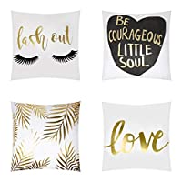 BRIGHTZEN Decorative Square Cushion Cover White and Gold Throw Pillow Cases for Sofa and Bedroom with Invisible Zipper 45x45cm (18x18 Inch), Cotton Linen, Set of 4