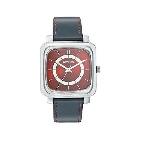 41tGGVvbfxL - Sonata 7089SL02 Red Mens watch