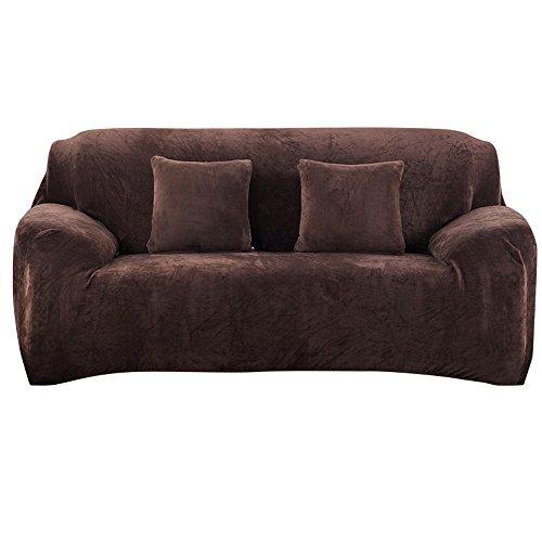 Souarts Sofabezug Beflockte elastische Stretch SofaBezug mit 4 verschienden Größe Bezug Couchsessel Stretch Husse/Sofa Bezug/Sofabezüge /Sofa Husse (3 Sitzer, Kaffeebraun)