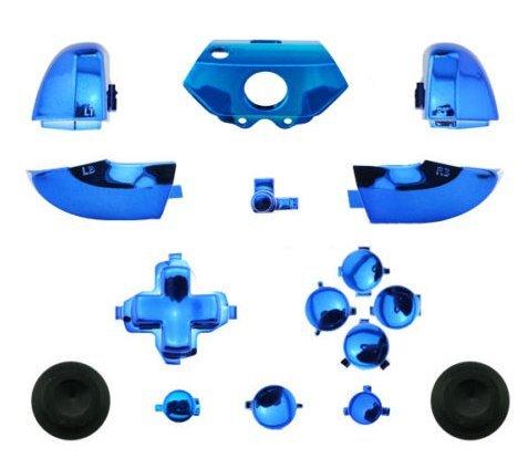 te (Oberfläche in Bumper auslöseknopfes Chrom Pad Full Tasten Kits für Xbox One Controller Blau ()