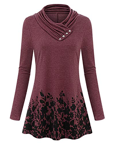 Red For Solersun Casual Swing Tunic Blouse Basic Knitted Women Junior Comfy Wine Xl ladies Tops dxBCoer