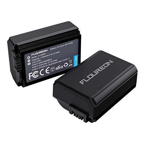 Sony Batteria di Ricambio, FLOUREON Sony NP-FW50 Batterie di Ricambio da 1100mAh, 2*Batteria Compatibile con Sony A6000, A6500, A7, A7II, A7R, A7RII, A7SII, A7S, A55, A5100, RX10 IV ecc