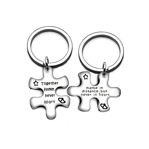 2Puzzle Valentine Edelstahl Schlüssel Kette Schmuck Set Schlüssel Halter-Together Forever Never Apart
