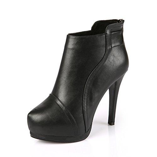 KPHY-Sexy testa rotonda Taiwan impermeabile ad alta con breve stivali inverno nuovo lampo posteriore ripartiti per Calzature Donna Marea black