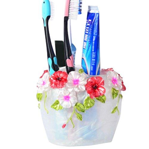 Blumen-Skulptur Zahnpasta Zahnbürste Bürstenhalter Spender- Pearl White
