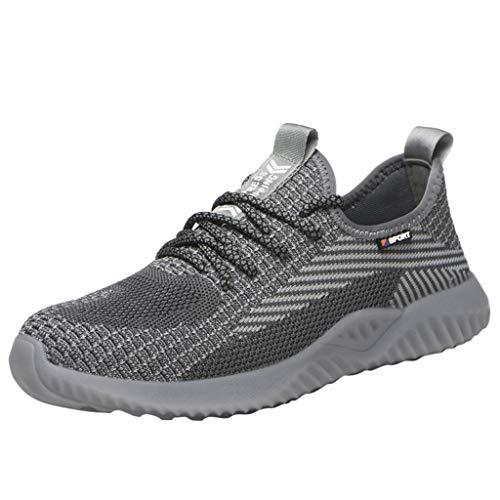 CUTUDE Steel Toe Sportschuhe Herren Freizeit Laufschuhe Damen Dämpfung Sicherheitsschuhe Leichte Mesh Außenbereich Schnürer Sneakers Atmungsaktive Unisex (Grau, 44 EU)