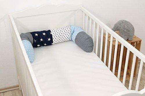 ULLENBOOM ® Bettschlange, Nestchenschlange in 10 Designs & 3 Längen (Baby Bettrolle 120 cm / 180 cm / 200 cm, ideal als Babybett Kantenschutz, Lagerungskissen)