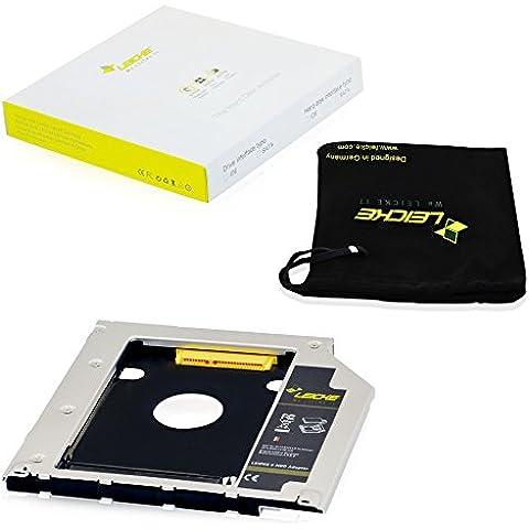 LEICKE - Adaptador universal DUAL SATA 2.HDD/SSD 9,5 mm 2da. Generation para disco duro SATA y todos los medelos de MacBook/MacBook PRO/MacBook Air con SATA 9,5mm de ranura del quemador de discos | Con tecnología supervelóz LEICKE (opti