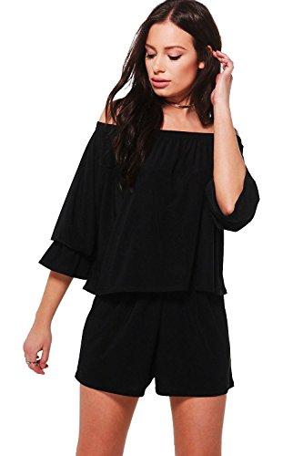 Noir Femmes tanya ensemble assorti top à épaules dénudées et short Noir