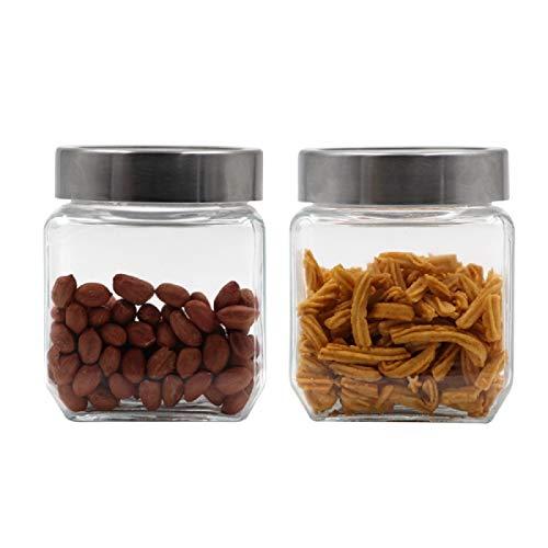 Soogo Glass Jar Set with Lid, 750ml, 2-Pieces, Transparent