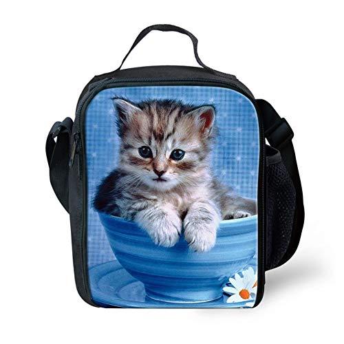 Animals Wolf Rucksack for Kids Boys mit Beleidigtem Lunchbag Pen Bag Set Back to School (Color : Cup Cat, Size : -) Gabel Cup Set