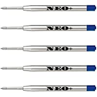 Confezione 5 ricariche per penna a sfera, punta media, colore blu compatibile anche con penne Parker