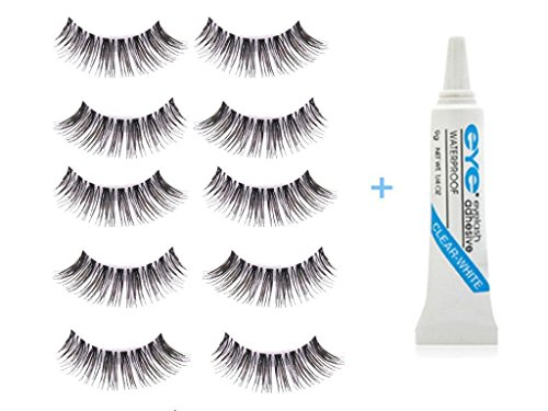 5 Pair / Lot Nette Criss Kreuzen Falsche Voluminöse Wimpern (Wimpern-falsche Wimpern)
