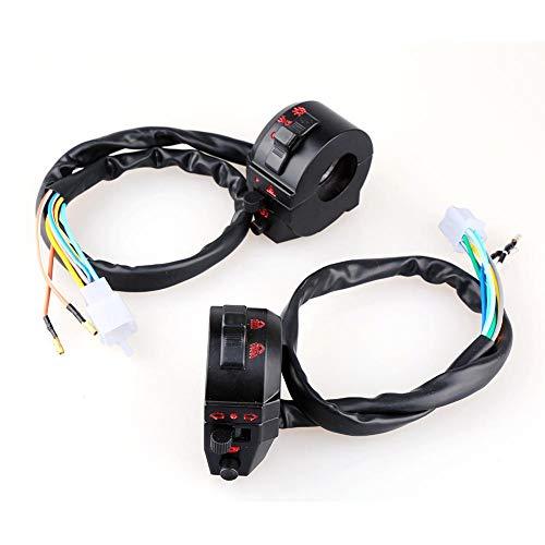 2pcs Universal 7/20,3cm Moto manillar cuerno interruptor de control A La derecha y de Izquierda dirección Luz de alta/Baja de haz interruptor faros Hazard Ancho lámpara interruptor