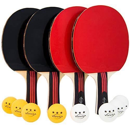 VIVVEA Ping Pong Paddel-Set - 4 Premium Tischtennisschläger, 8 professionelle Bälle und tragbare Tasche - Pro Training und Freizeit Ping-Pong Paddel, ideal für Spiele im Freien oder im Innenbereich