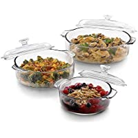 Crecklo Glass Serving Bowl With Glass Lid - 1000 ml, 1 Piece, Clear