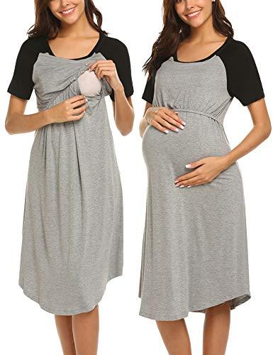 MAXMODA Damen Weiche Umstandsnachthemd Stillnachthemd Mutterschafts Nachthemden