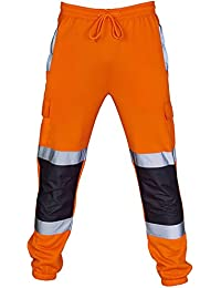 e7a89b1cbebf Hi Vis Viz Joggers Slim Fit Reflective Tape Stripe Band Trousers High Visibility  Safety Workwear Two